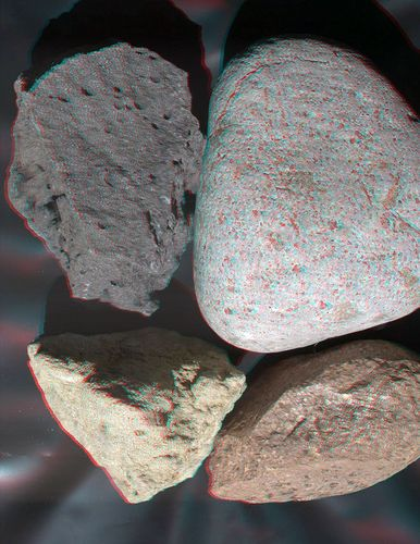 This stereo view of terrestrial rocks combines two images taken by a testing twin of the Mars Hand Lens Imager (MAHLI) camera on NASA's Mars Science Laboratory.