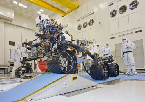 This photograph of the NASA Mars Science Laboratory rover, Curiosity, was taken during mobility testing on June 3, 2011. The location is inside the Spacecraft Assembly Facility at NASA's Jet Propulsion Laboratory, Pasadena, Calif.