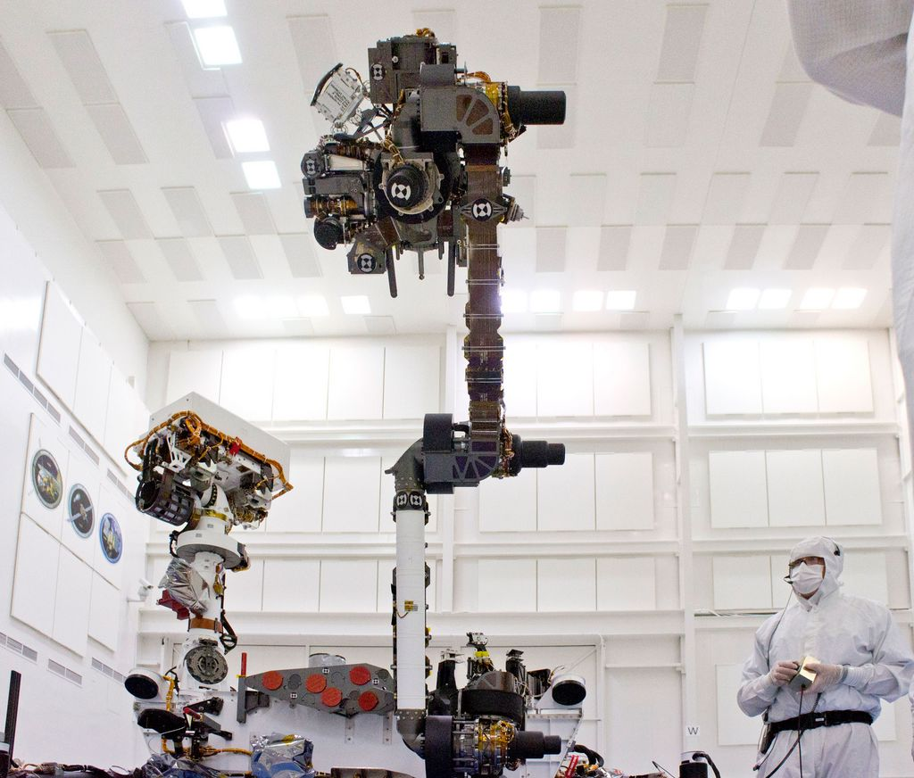 This photograph of the NASA Mars Science Laboratory rover, Curiosity, was taken during testing on June 3, 2011. The location is inside the Spacecraft Assembly Facility at NASA's Jet Propulsion Laboratory, Pasadena, Calif.