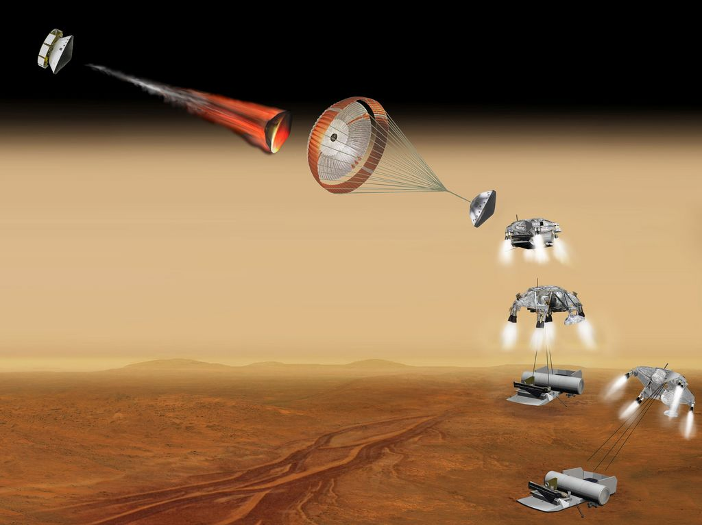 This artist's concept of a proposed Mars sample return mission portrays a series of six steps in the spacecraft's landing on Mars. NASA and the European Space Agency are collaborating on proposals for a mission to gather samples of Martian rocks and bring them to Earth after 2020.
