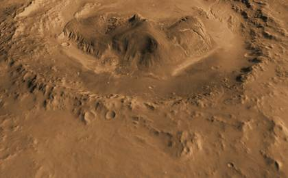 read the article 'Oblique view of Gale Crater from the North (Unannotated)'