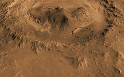 read the article 'Oblique view of Gale Crater from the North'
