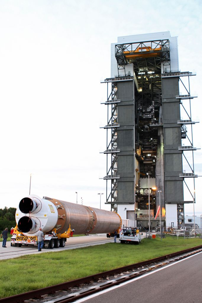 The first stage of the Atlas V rocket for NASA's Mars Science Laboratory (MSL) mission arrives at the Vertical Integration Facility at Space Launch Complex 41 on Cape Canaveral Air Force Station.
