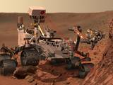 This artist's concept depicts the rover Curiosity, of NASA's Mars Science Laboratory mission, as it uses its Chemistry and Camera (ChemCam) instrument to investigate the composition of a rock surface.