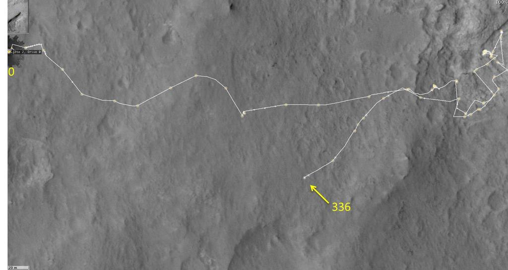 This map shows the route driven by NASA's Mars rover Curiosity through the 336 Martian day, or sol, of the rover's mission on Mars (July 17, 2013).