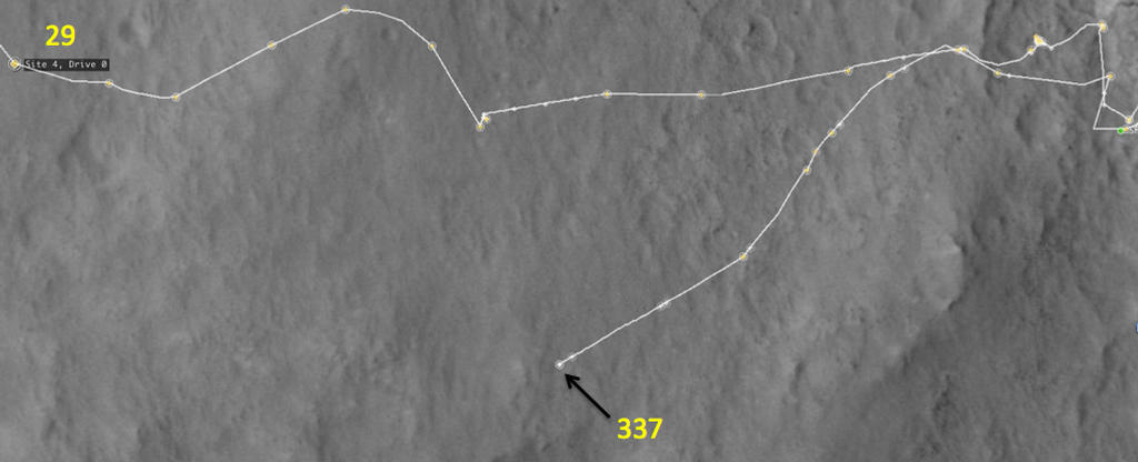 This map shows the route driven by NASA's Mars rover Curiosity through the 337 Martian day, or sol, of the rover's mission on Mars (July 18, 2013).
