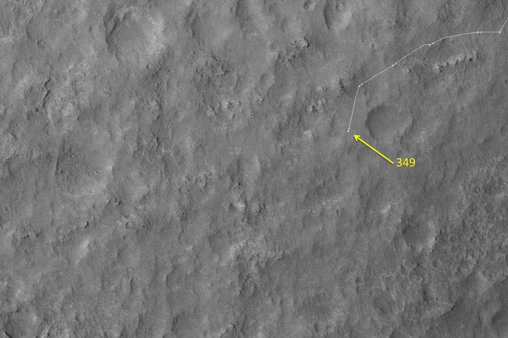 This map shows the route driven by NASA's Mars rover Curiosity through the 349 Martian day, or sol, of the rover's mission on Mars (July 30, 2013).