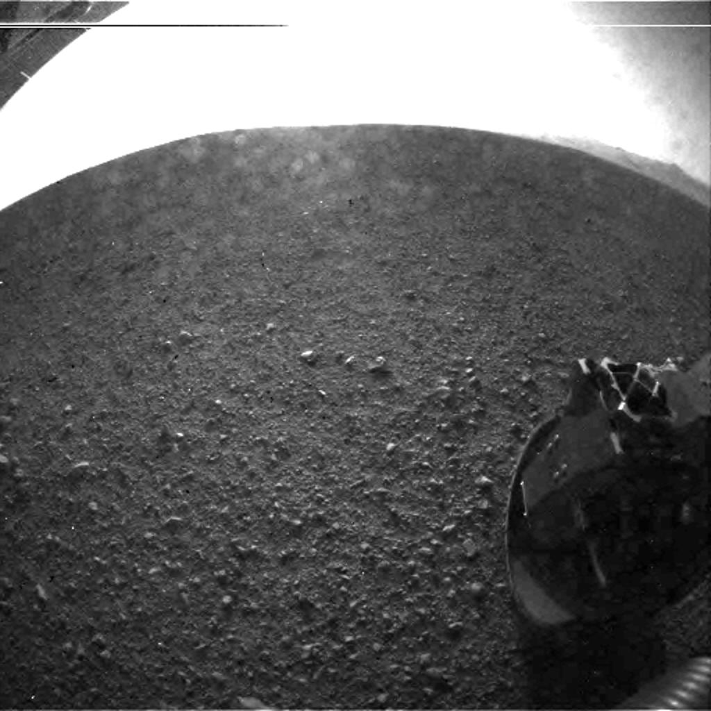 This is one of the first images taken by NASA's Curiosity rover, which landed on Mars the evening of Aug. 5 PDT (morning of Aug. 6 EDT).