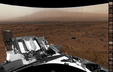 Cylindrical Viewer: Billion-Pixel View From Curiosity at Rock Nest, White-Balanced