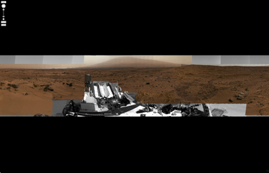 Panoramic Viewer: Billion-Pixel View From Curiosity at Rock Nest, White-Balanced