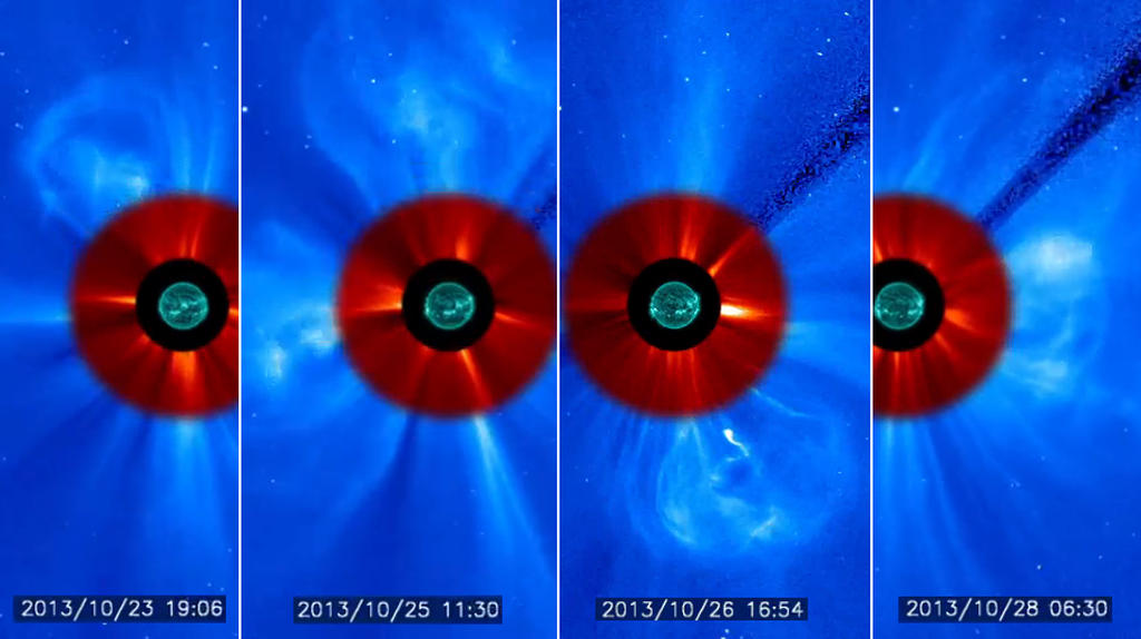 A few of the many coronal mass ejection released by the sun over the past week.