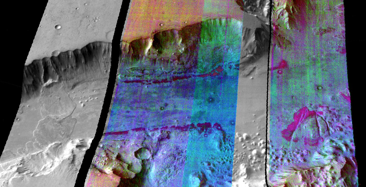 This false-color infrared image was taken by the camera system on the Mars Odyssey spacecraft over part of Ganges Chasma in Valles Marineris