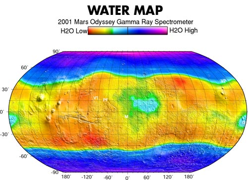 This map is based on gamma rays from the element hydrogen on Mars.