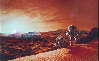 Artist's concept of humans on Mars