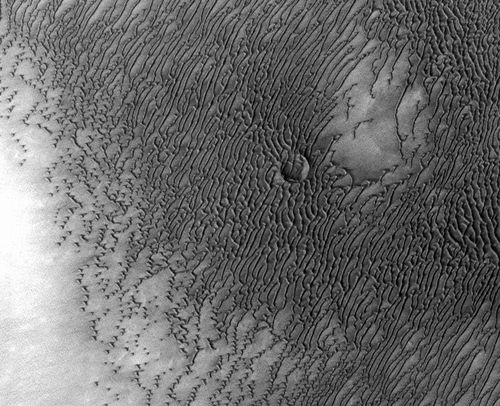 A vast dune field lies near the northern polar cap of Mars. Seen here in summer, the dunes have partially buried an impact crater about 1,000 meters (3,300 feet) wide.