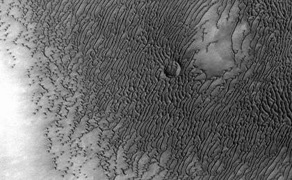 read the article 'Mars Odyssey All Stars: Dunes Engulf Crater'