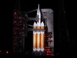 This image was taken on December 4, 2014 with the Orion spacecraft and Delta IV Heavy rocket, awaiting for launch on Space Launch Complex 37 at Cape Canaveral Air Force Station in Florida.