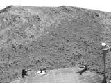 "NASA's Mars Exploration Rover Opportunity recorded this view of the summit of ""Cape Tribulation,"" on the western rim of Endeavour Crater on the day before the rover drove to the top. This crest is about 440 feet higher in elevation than the plain surrounding the crater."