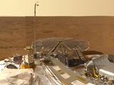 This view combines hundreds of images taken during the first several weeks after NASA's Phoenix Mars Lander arrived on an arctic plain at 68.22 degrees north latitude, 234.25 degrees east longitude on Mars. The landing was on May 25, 2008.
