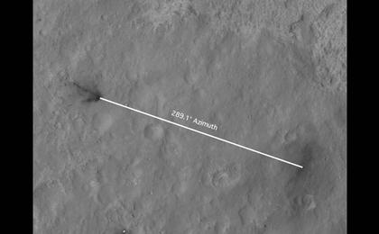 see the image 'Inspecting Curiosity's Descent Stage Crash Site'