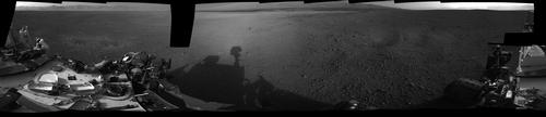 This 360-degree, full-resolution panorama from NASA's Curiosity rover shows the area all around the rover within Gale Crater on Mars.