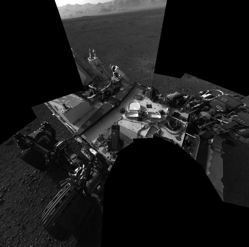 This full-resolution self-portrait shows the deck of NASA's Curiosity rover from the rover's Navigation cameras.