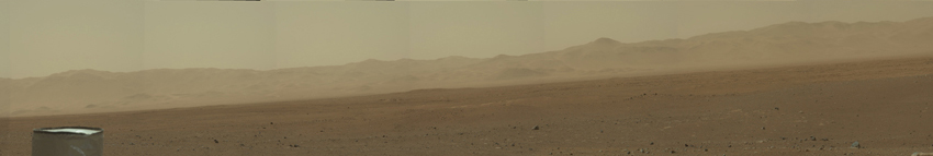 This image is the first high-resolution color mosaic from NASA's Curiosity rover, showing the geological environment around the rover's landing site in Gale Crater on Mars.