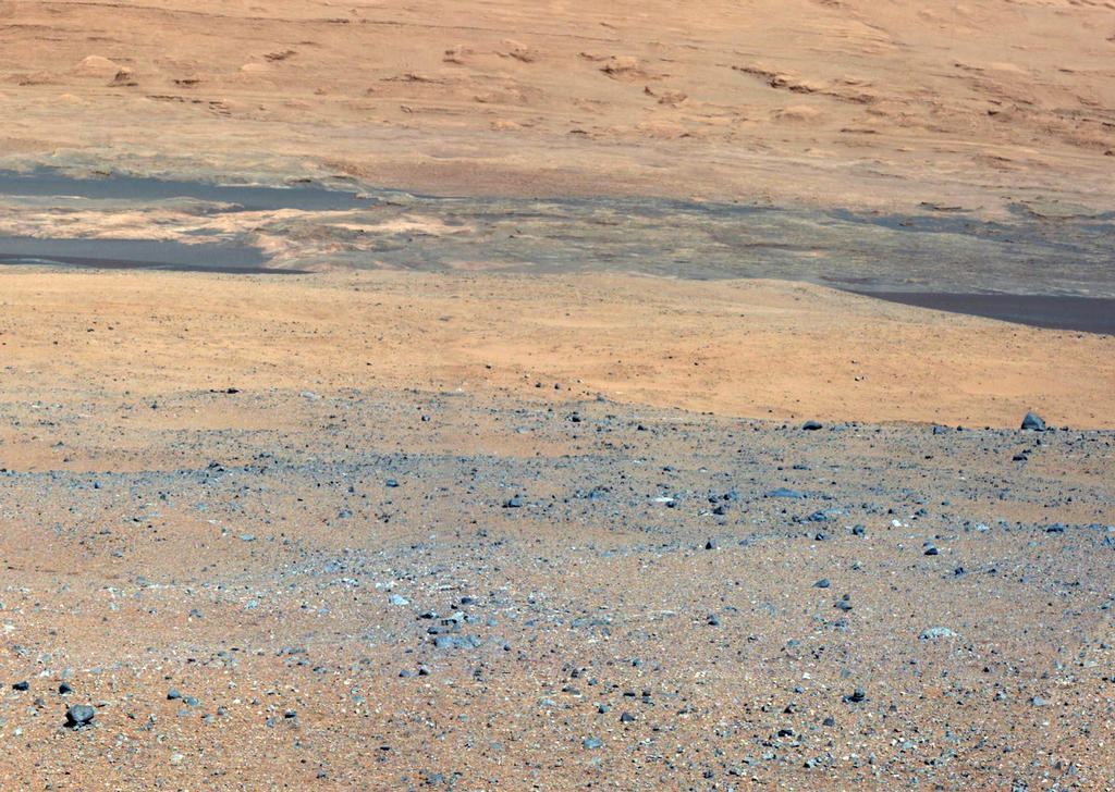 This image from NASA's Curiosity rover looks south of the rover's landing site on Mars towards Mount Sharp.