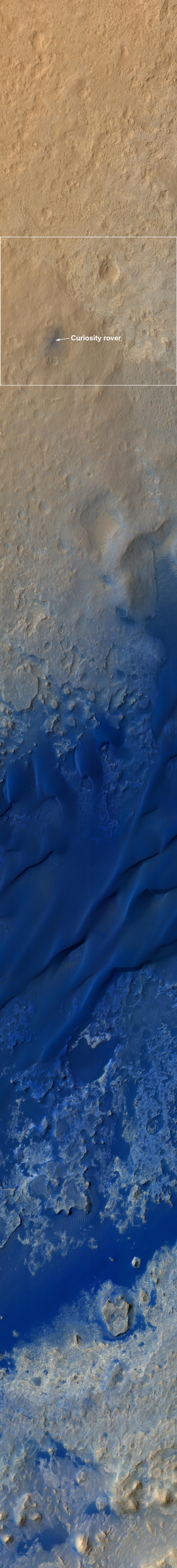 This color-enhanced view shows the terrain around the rover's landing site within Gale Crater on Mars.