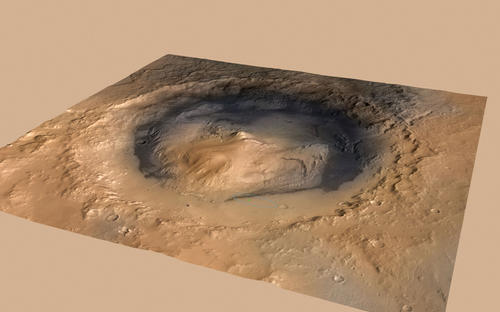 NASA's Curiosity rover landed in the Martian crater known as Gale Crater, which is approximately the size of Connecticut and Rhode Island combined.