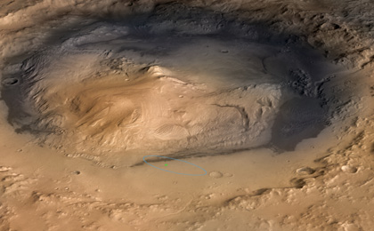 see the image 'Curiosity Cradled by Gale Crater'