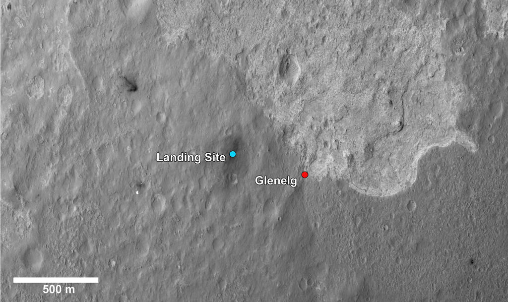 This image shows the landing site of NASA's Curiosity rover and destinations scientists want to investigate.