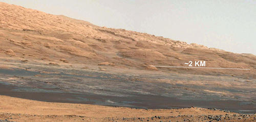 This image (cut out from a mosaic) shows the view from the landing site of NASA's Curiosity rover toward the lower reaches of Mount Sharp, where Curiosity is likely to begin its ascent through hundreds of feet (meters) of layered deposits.