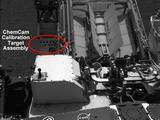 This image shows the calibration target for the Chemistry and Camera (ChemCam) instrument on NASA's Curiosity rover.
