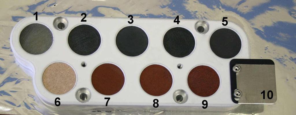 This image shows the calibration target for the Chemistry and Camera instrument on NASA's Curiosity rover before it was installed on the rover and readied for launch.
