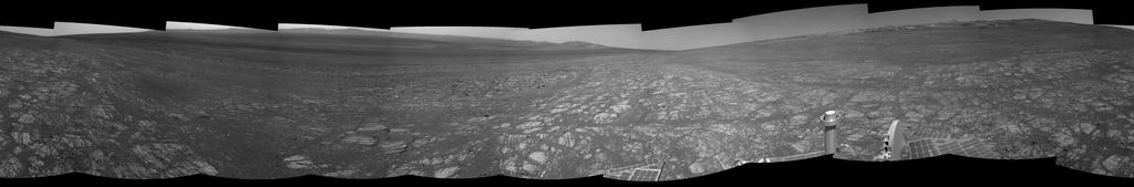 "On the horizon in the right half of this panoramic view is an area of Mars informally named ""Matijevic Hill,"" in commemoration of an influential rover-team leader."