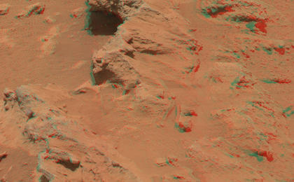 see the image 'Martian Streambed Evidence Rock in 3-D'