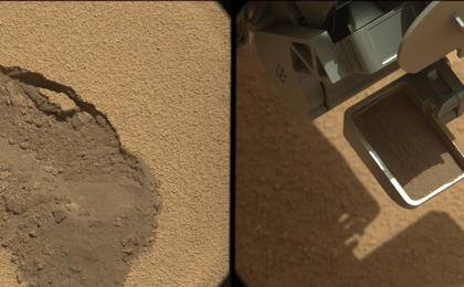see the image 'First Scoop by Curiosity, Sol 61 Views'