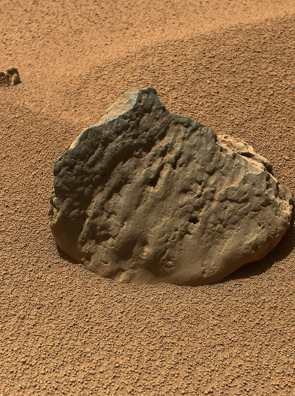 "The Mars Hand Lens Imager (MAHLI) on the arm of NASA's Mars rover Curiosity took this image of a rock called ""Et-Then"" during the mission's 82nd sol, or Martian day (Oct. 29, 2012.)"