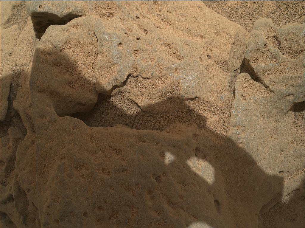"This focus-merge image from the Mars Hand Lens Imager (MAHLI) on the arm of NASA's Mars rover Curiosity shows a rock called ""Burwash."" The rock has a coating of dust on it. The coarser, visible grains are windblown sand."