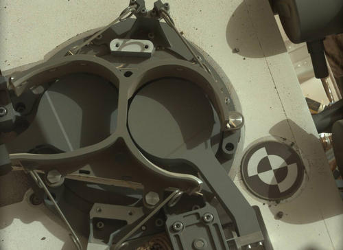 This subframe image from the left Mast Camera (Mastcam) on NASA's Mars rover Curiosity shows the covers in place over two sample inlet funnels of the rover's Sample Analysis at Mars (SAM) instrument suite.