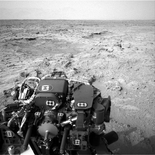 NASA's Mars rover Curiosity drove 83 feet eastward during the 102nd Martian day, or sol, of the mission (Nov. 18, 2012), and used its left navigation camera to record this view ahead at the end of the drive.