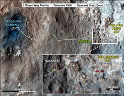 Curiosity Traverse Map, Sol 123