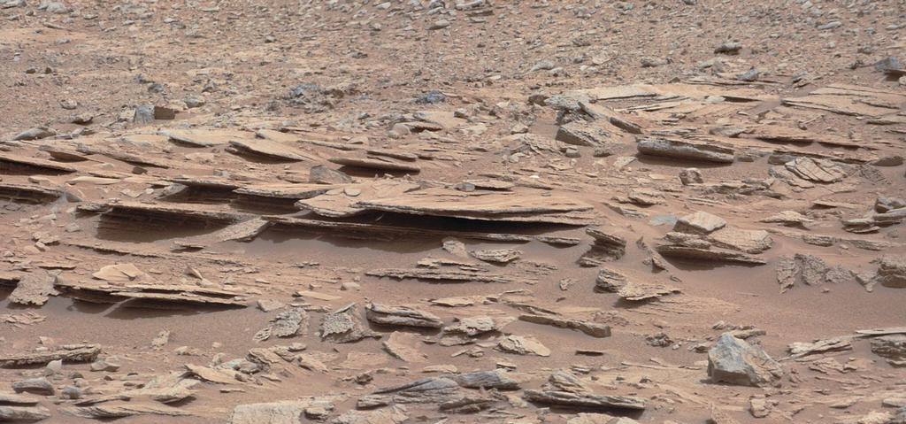 "The NASA Mars rover Curiosity used its Mast Camera (Mastcam) during the mission's 120th Martian day, or sol (Dec. 7, 2012), to record this view of a rock outcrop informally named ""Shaler."""