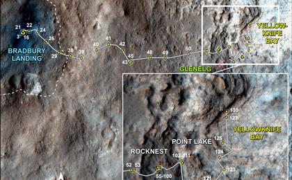 see the image 'Curiosity Traverse Map, Sol 130'