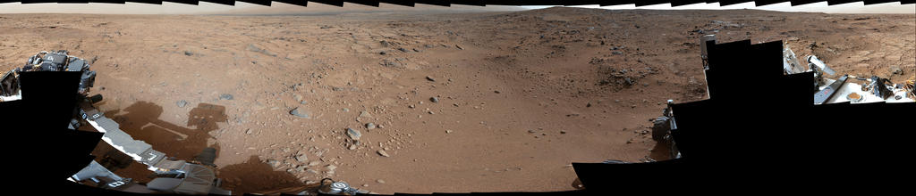 This panorama is a mosaic of images taken by the Mast Camera (Mastcam) on the NASA Mars rover Curiosity during the 106th Martian day, or sol, of the mission (Nov. 22, 2012).