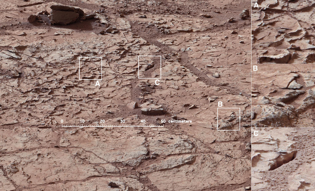 This view shows the patch of veined, flat-lying rock selected as the first drilling site for NASA's Mars rover Curiosity.