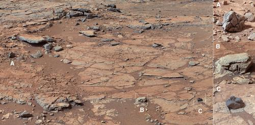 "The right Mast Camera (Mastcam) of NASA's Curiosity Mars rover provided this contextual view of the vicinity of the location called ""John Klein,"" selected as Curiosity's first drilling site."