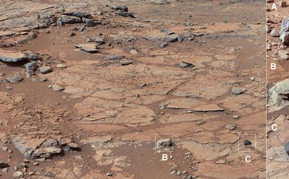 see the image 'Diversity in Vicinity of Curiosity's First Drilling Target (Unannotated)'