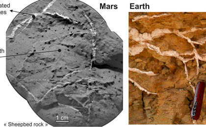 see the image 'Veins in Rocks on Mars and Earth'